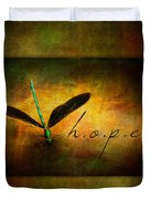 Hope Ebony Jewel Wing Damselfly On Golden Sunlight Dragonfly Duvet Cover