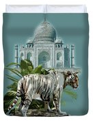 White Tiger And The Taj Mahal Image Of Beauty Duvet Cover