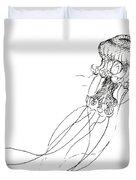 Jellyfish Sketch - Black And White Nautical Theme Decor Duvet Cover