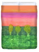 Trees, Green And Evening Sky Duvet Cover