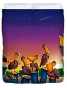 Pelican Sunset Whimsical Cartoon Tropical Birds Seascape Print Blue Orange Purple Yellow Duvet Cover