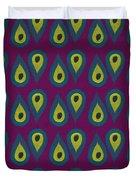 Purple Peackock Print  Duvet Cover by Linda Woods