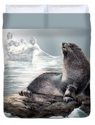 Harp Seal And Native Hunters Duvet Cover