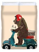 Scooter Bear Duvet Cover by Bri Buckley