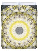 Concrete And Yellow Mandala- Abstract Art By Linda Woods Duvet Cover by Linda Woods