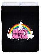 Heavy Metal Funny Unicorn  Rainbow Mosh Parody Design Duvet Cover