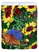 Butterfly Wildflowers Garden Oil Painting Floral Green Blue Orange-2 Duvet Cover