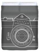Asahi Pentax 35mm Analog Slr Camera Line Art Graphic White Outline Duvet Cover