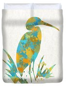 Heron Watercolor Art Duvet Cover