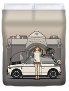 Honda N600 Rally Kei Car With Japanese 60's Asahi Pentax Commercial Girl Duvet Cover