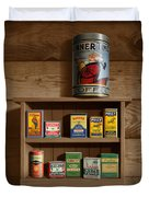Wall Spice Rack - Americana Kitchen Art Decor - Vintage Spice Cans Tins - Nostalgic Spice Rack Duvet Cover