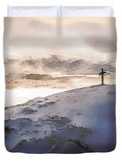 Christian Cross On Mountain Duvet Cover
