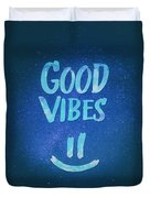 Good Vibes  Funny Smiley Statement Happy Face Blue Stars Edit Duvet Cover