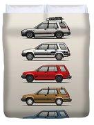 Stack Of Toyota Tercel Sr5 4wd Al25 Wagons Duvet Cover