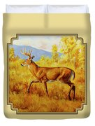 Whitetail Deer In Aspen Woods Duvet Cover by Crista Forest