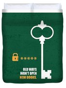 Open New Doors Business Quotes Poster Duvet Cover