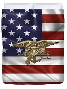 U.s. Navy Seals Trident Over U.s. Flag Duvet Cover