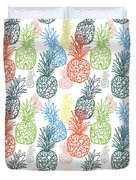 Happy Pineapple- Art By Linda Woods Duvet Cover