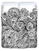 Black And White Floral Indian Pattern Duvet Cover
