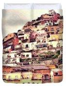 Italian Hillside Village Duvet Cover