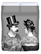 Tattooed Victorian Lovers Duvet Cover