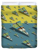109s Cracked Mad Paper Airplanes Duvet Cover