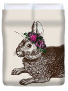 Rabbit And Roses Duvet Cover
