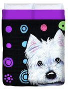 Kiniart Disco Westie Duvet Cover