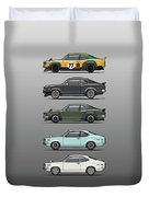 Stack Of Mazda Savanna Gt Rx-3 Coupes Duvet Cover