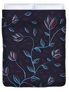 Glowing Blue Abstract Flowers Duvet Cover