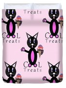 Pink Cool Treats - Cat Typography Duvet Cover