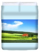 Red House In Field - Amshausen, Germany Duvet Cover