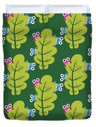 Cute Bugs Eat Green Leaf Duvet Cover