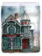 Blue House On A Grey Day Duvet Cover
