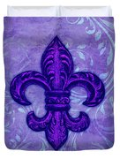 Purple French Fleur De Lys, Floral Swirls Duvet Cover