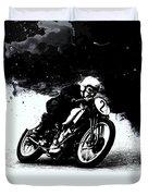 Vintage Motorcycle Racer Duvet Cover