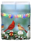Christmas Birds And Garland Duvet Cover by Crista Forest