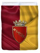Coat Of Arms Of Rome Over Flag Of Rome Duvet Cover