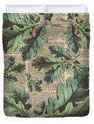 Oak Tree Leaves And Acorns, Autumn Dictionary Art Duvet Cover