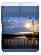 Boat Lights Sunset On Lady Bird Lake Duvet Cover