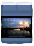 Boat, Lights, Sunset On Lady Bird Lake Duvet Cover