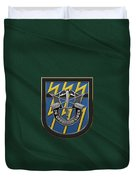 U. S.  Army 12th Special Forces Group - 12 S F G  Beret Flash Over Green Beret Felt Duvet Cover