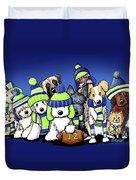 12 Dogs On Blue Duvet Cover