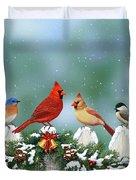Winter Birds And Christmas Garland Duvet Cover