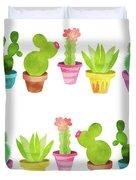 Cactus Plants In Pretty Pots Duvet Cover
