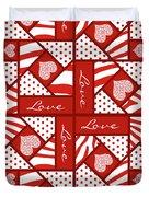 Valentine 4 Square Quilt Block Duvet Cover