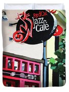 Red Cat Jazz Cafe Duvet Cover