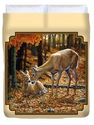 Whitetail Deer - Autumn Innocence 2 Duvet Cover by Crista Forest