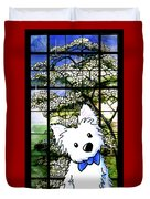 Westie At Dogwood Window Duvet Cover