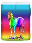 Colorful Rainbow Paint Horse Duvet Cover